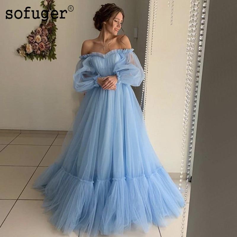 Bleu rose Simple Sexy chérie mode robes de soirée manches longues Tulle robes de soirée hors de l'épaule plissé à plusieurs niveaux