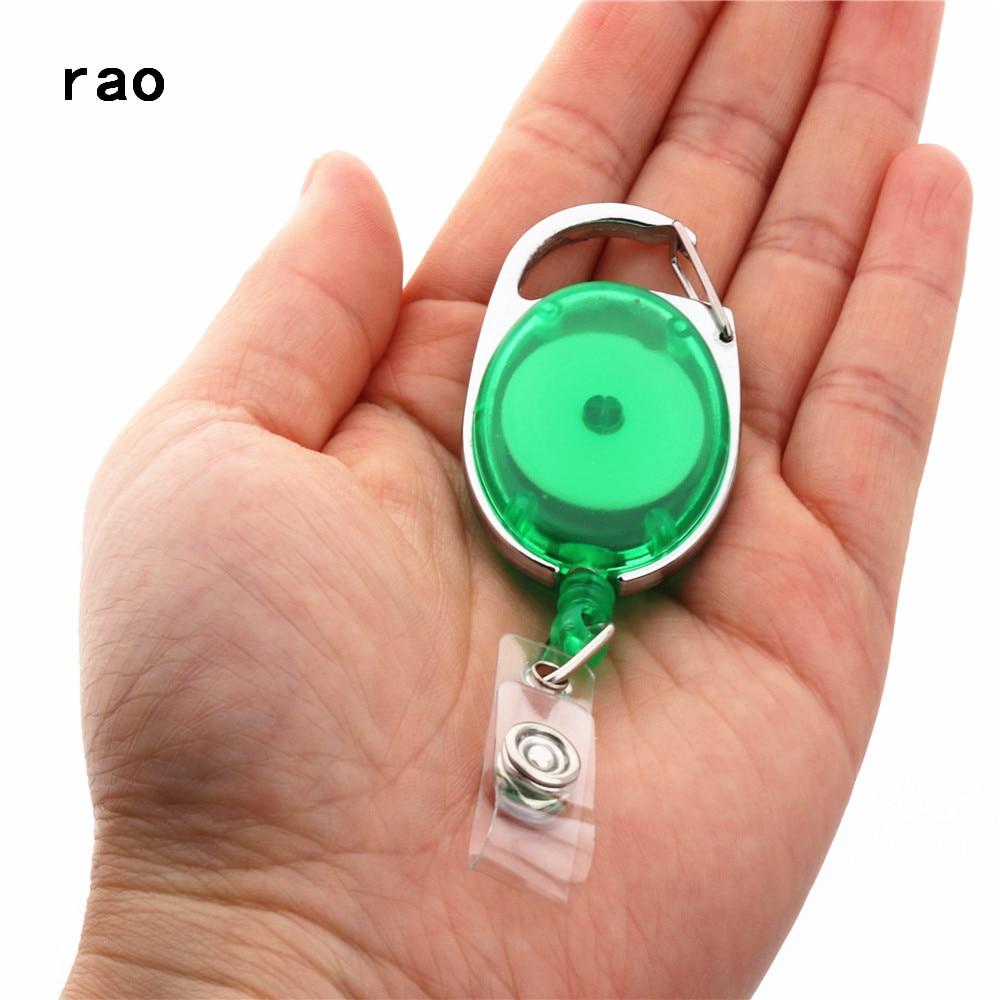 Различные наборы карт Выдвижная Тяговая катушка для бейджа ID Lanyard имя бирка держатель для карты держатель для бейджа Катушки откатный ремень брелок зажимы для цепи - Цвет: Transparent green