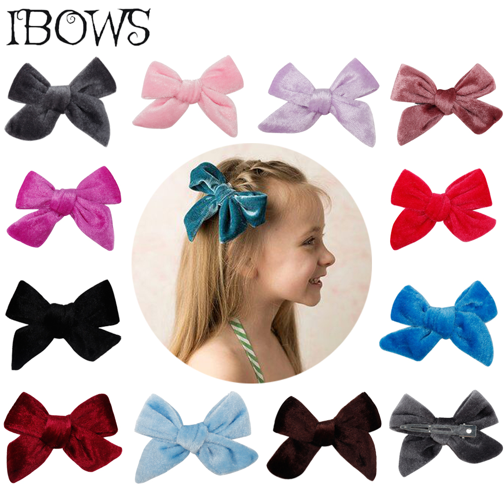 1Pc Hair Accessories Solid Velvet Hair Bows 3.5 Inch Lovely Hair Clips For Girls/Kids Hairgrips Handmade Bow-knot Clip   Headwear