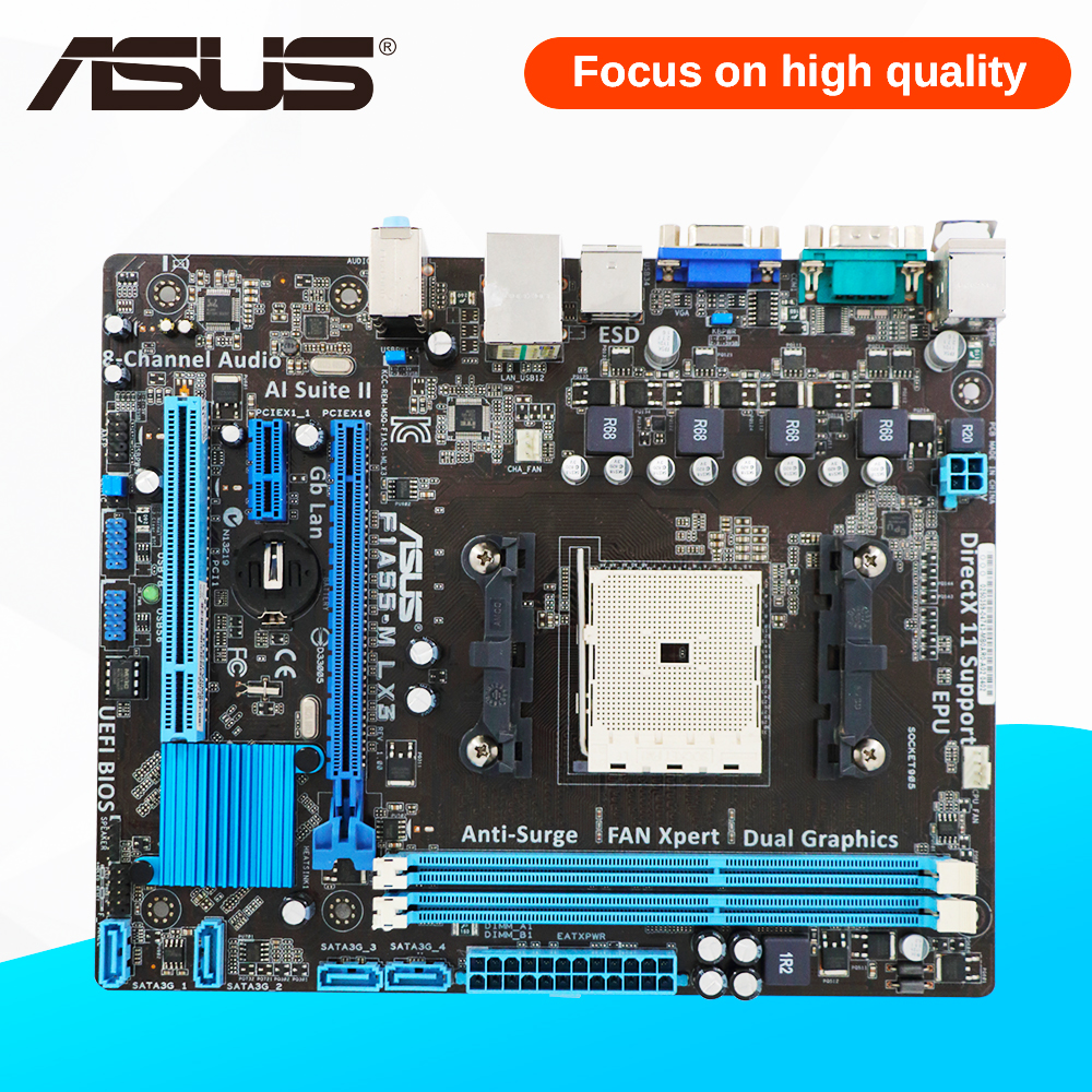 Asus F1A55-M LX3 Desktop Motherboard A55 Socket FM1 DDR3 32G SATA2 USB2.0 uATX free shipping original motherboard for asus f1a55 v plus socket fm1 ddr3 boards a55 desktop motherboard