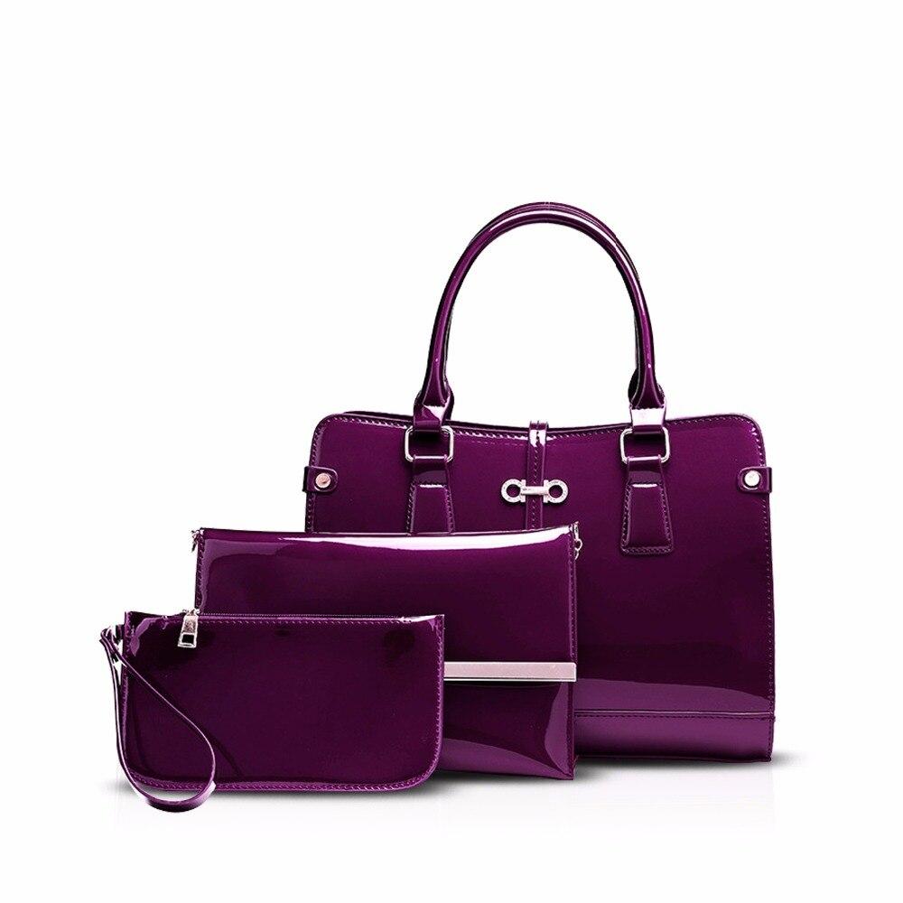 NICOLE&DORIS Fashion Luxury Women Handbag Shoulder Bag Crossbody Bag Large 3PCS Set Waterproof PU Leather Patent leather patent leather handbag shoulder bag for women