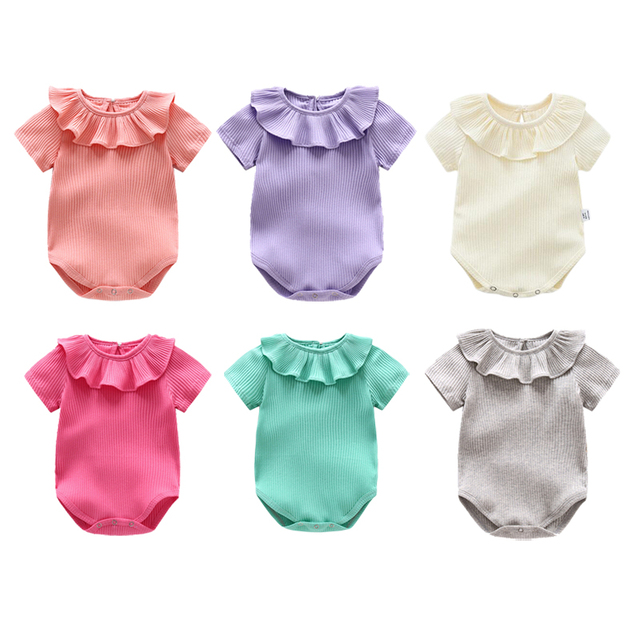 2cc342748a6 Summer Baby Girl Romper Newborn Baby Clothes Infant Boys Jumpsuit Toddler  Solid Clothes Kids Clothing Bebe Cotton Solid Overalls