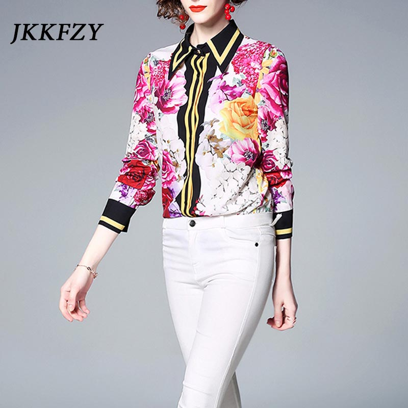JKKFZY 19 Flower Print Fashion Shirts Women Elegant Sweet Blouses Lady Office High Quality Blusas blusse New Femme Tops Clothes