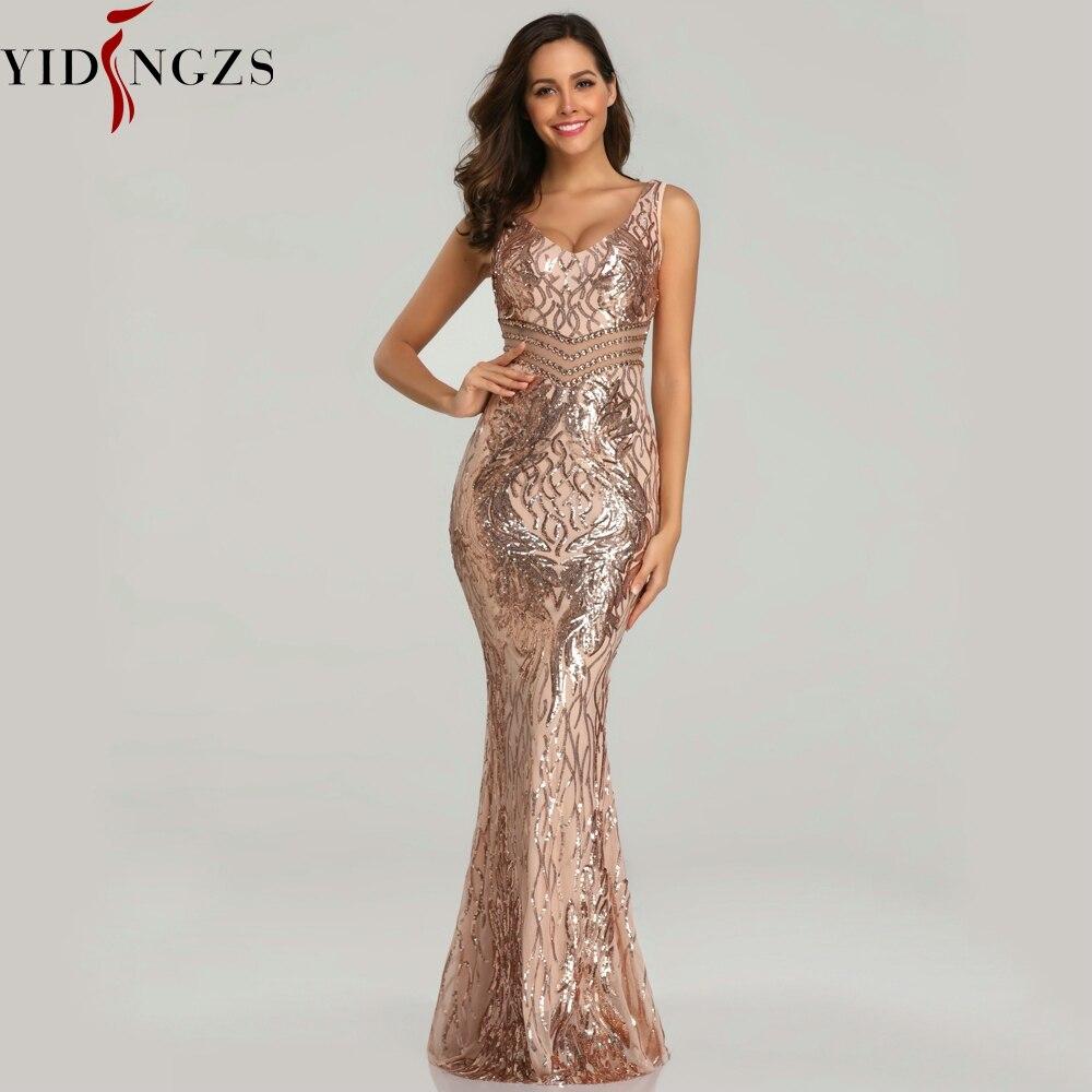 YIDINGZS New Sequins Evening Dress Women See-through Beads Long Evening Party Dreess YD621