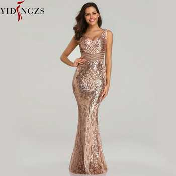 YIDINGZS New Sequins Evening Dress Women See-through Beads Long Evening Party Dreess YD621 - DISCOUNT ITEM  50% OFF All Category