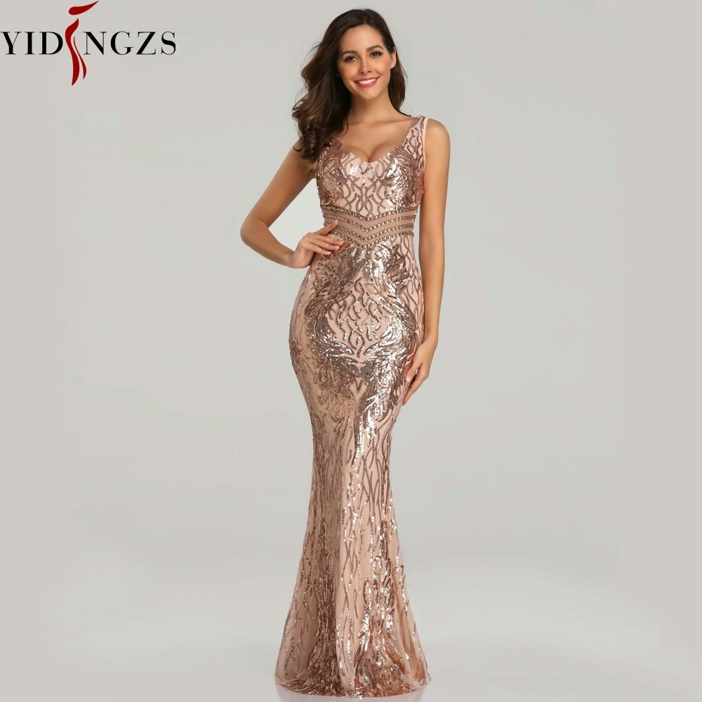YIDINGZS New Sequins   Evening     Dress   Women See-through Beads Long   Evening   Party Dreess