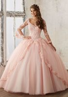 New Long Sleeves Lace Prom Quinceanera Dresses Tulle Ballgown Evening Party Dresses Lace Up Back