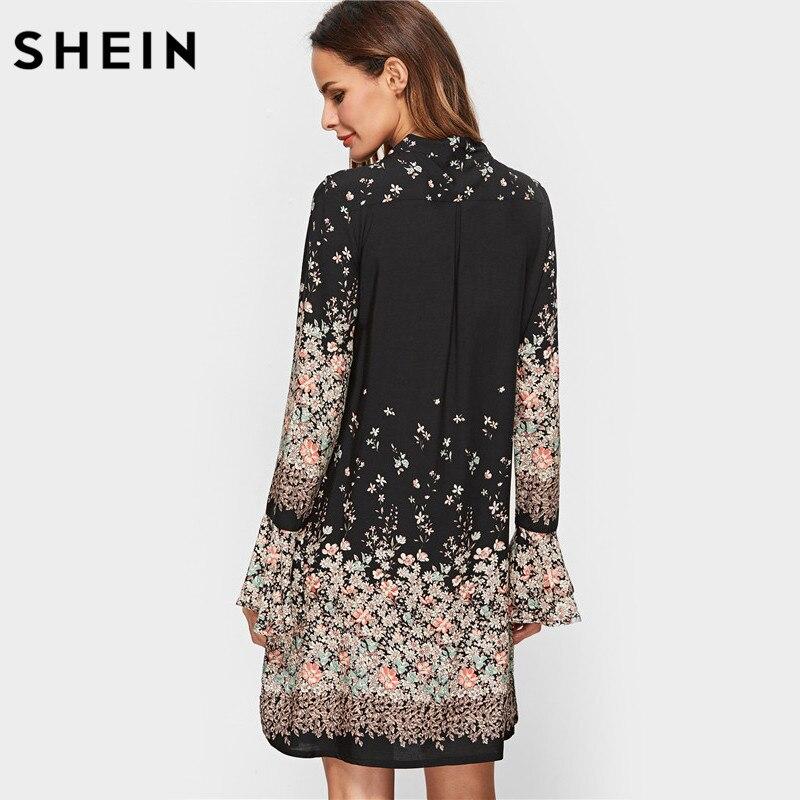 eb06621217 SHEIN Coreano Abbigliamento Donna Stampa Floreale Vestiti della Molla Delle  Donne Cravatta Nera Collo Lungo Del Manicotto Del Chiarore Casuale Un  Vestito ...
