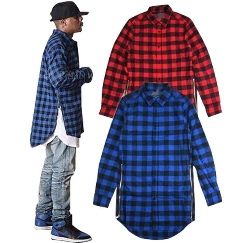 Chemise Homme Fashion Shirt Fitness Men Long Sleeve Shirt Men Cotton Red Checkered Shirt Long paragraph zipper plaid shirt Hip