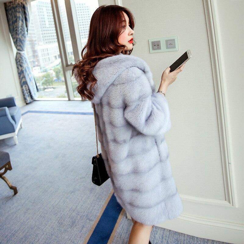 Gilet en fausse fourrure haut à la mode taille large pleine 2018 nouvelle fourrure vison manteau femelle haute Imitation rejet capuchon longue Section Hn124