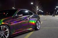 Premium 3 Layers Black Chrome Holographic Vinyl Wrap Rainbow Laser Vinyl Film Bubble Free Car Sticker