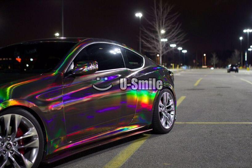 Prime Argent Violet Or Noir Chrome Holographique Vinyle Wrap Arc-En-Laser Vinyle Film Gratuit Bubble Autocollant De Voiture