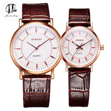 1 Pair Simple Fashion Ultra-Thin Lovers' Watch Men&Women's Classic Quarts Wrist Watches Leather Strap Waterproof Valentine Gift
