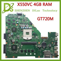KEFU X550VC For ASUS X550VC X550CC X550V R510V laptop motherboard NVidia GeForce GT720M 4G RAM 2G video card PGA989 Test