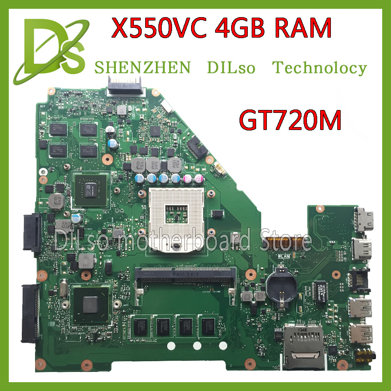 SHUOHU X550VC For ASUS X550VC X550V R510V laptop motherboard NVidia GeForce GT720M 4G RAM 2G video card PGA989 100% tested
