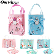 Ourwarm 48pcs Birth Favors Candy Box Bags With Handle Kids Gifts For Guests Baby Shower Favors Birthday Llama Party Decoration