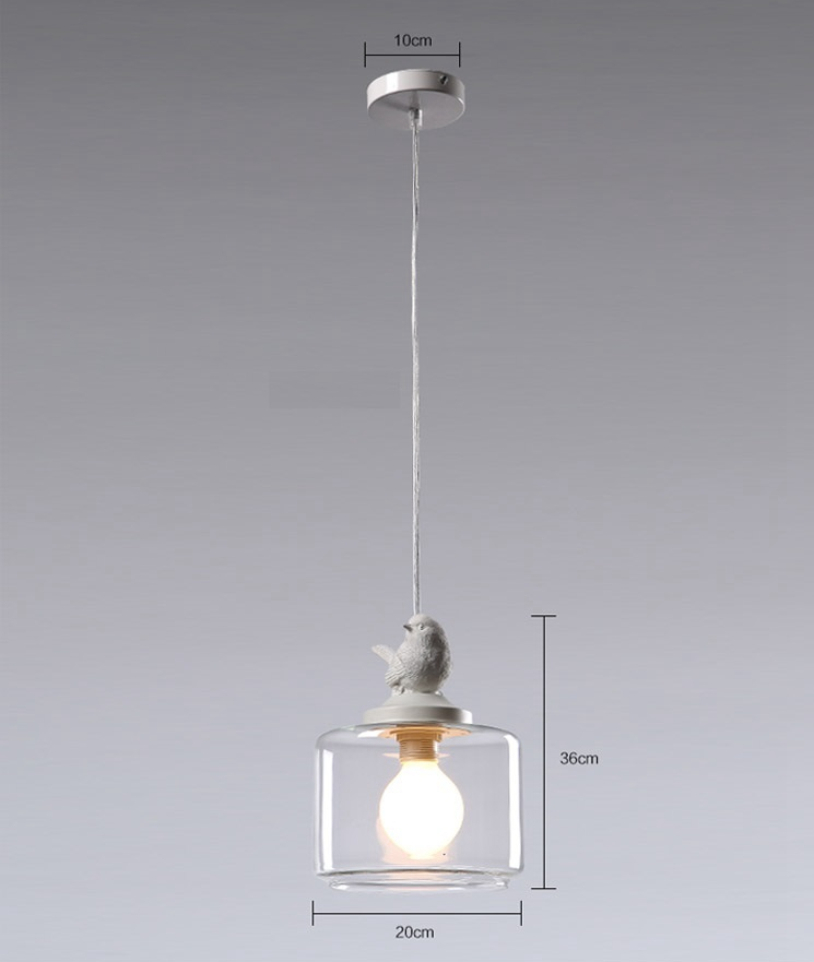 LuKLoy Resin Bird Pendant Lamp Light Nordic Glass Lights Lighting for Loft Kitchen Dining Room Ceiling Bedroom Decoration (12)