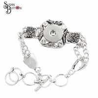 HOT Sale High Quality Armband Snap Button Jewelry Rhinestone Metal Snap Button Bracelets Fit 18mm Ginger