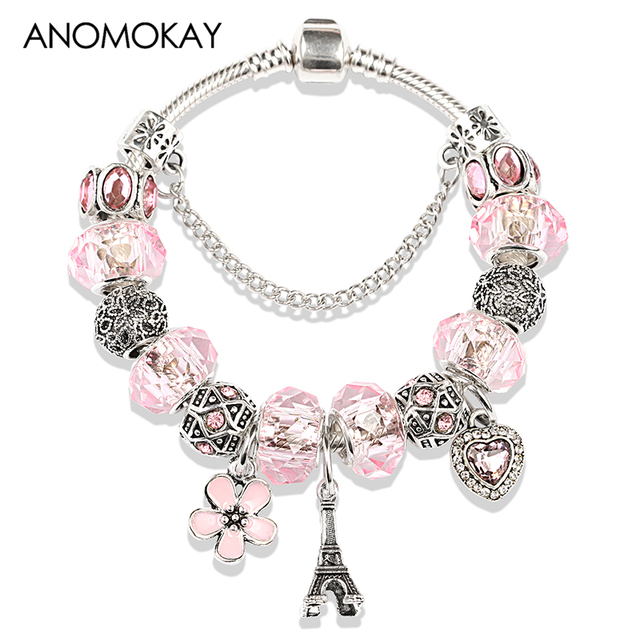 2019 Hot Silver Color Eiffel Tower Heart Flower Pendants Charm Pandora Bracelet Bangle Diy Pink