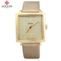 Watches Women JULIUS Brand Quartz Watch Lady Luxury Rose Gold Antique Square Leather Dress Wrist Watch