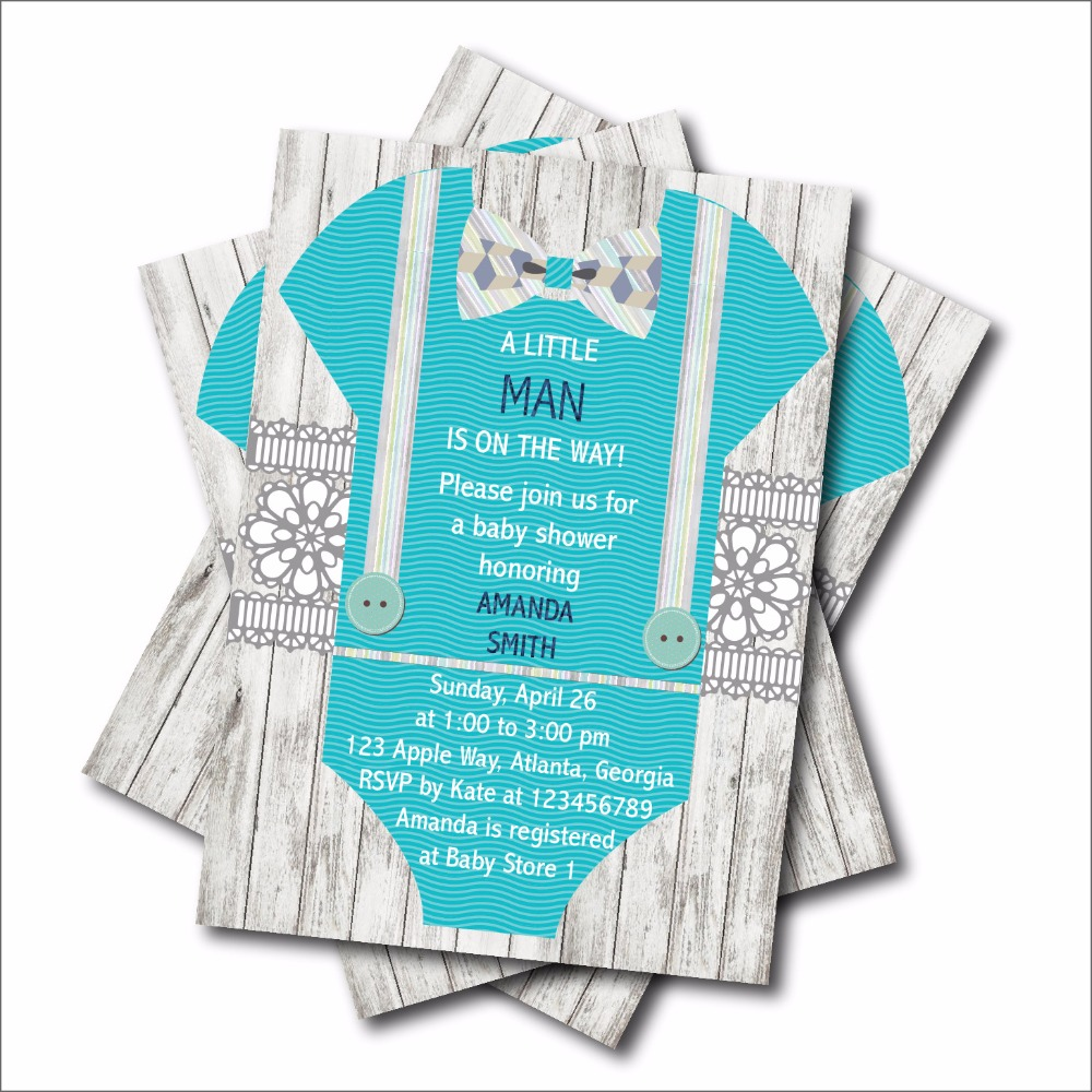 20 pcs/lot Personalized Little Man Baby Shower Birthday invitations ...
