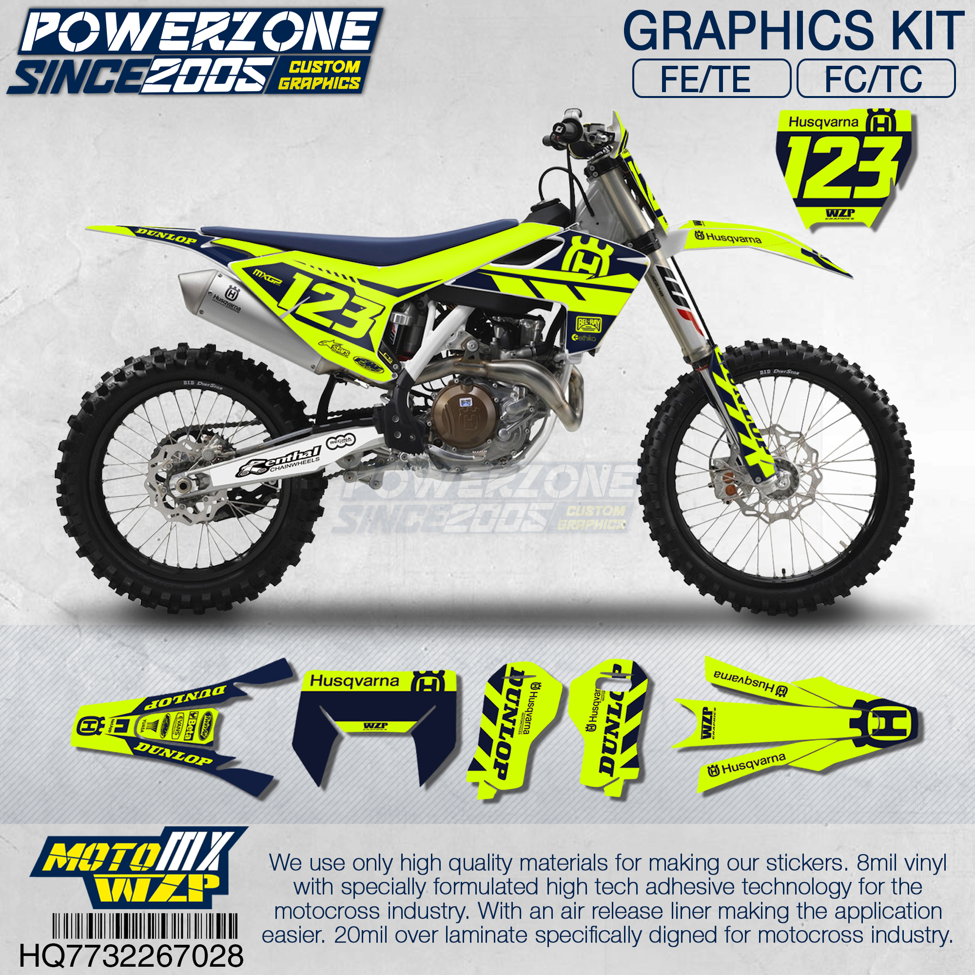PowerZone Customized Team Graphics Fluorescent Decals  Custom Stickers For Husqvarna 2017 To 2019 FE TE FC TC 250 To 500cc 728