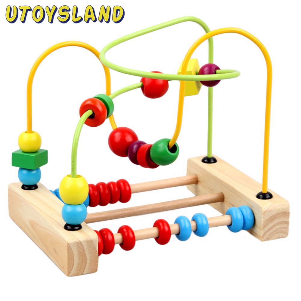 UTOYSLAND Wooden Math Toys Counting Circles Bead Abacus Wire Maze Roller Coaster Toys Set Educational Toy for Children Kids Gift