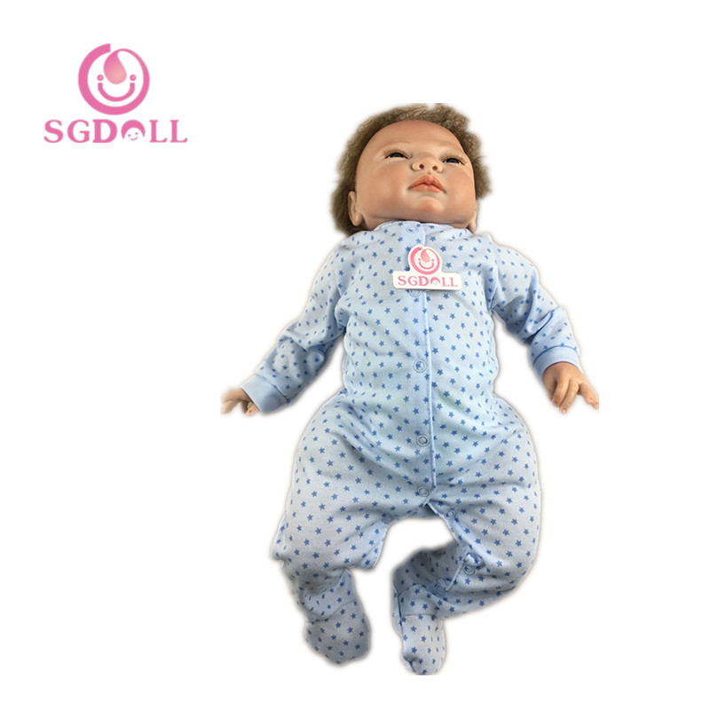 46cm/18 Lifelike Vinyl Handmade Soft Touch Newborn Baby Reborn Dolls Kids Toys w Blue Round Dot Rampers Xmas Gift 6092408 scary lifelike soft rubber hanging bat toys pair