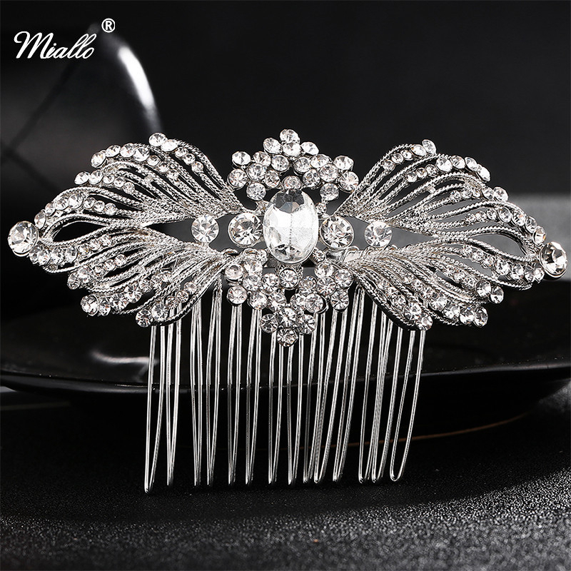 Miallo Wedding Bridal Accessories Silver Flower Crystal Rhinestone Hair Pin Clips Bridesmaid Women Hair Jewelry