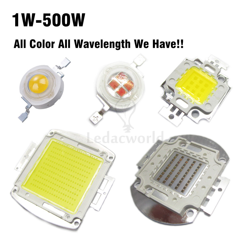 High Power LED Chip 1W 3W 5W 10W 20W 30W 50W 100W 200W 300W 500W Cold White Natural White Warm White Red Blue Green IR LEDs 1w led bulbs high power 1w led lamp pure white warm white 110 120lm 30mil taiwan genesis chip free shipping