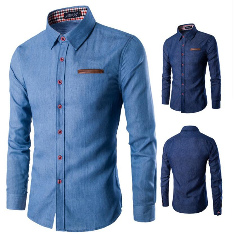 New 2017 Men's Denim Long Sleeve Shirt Brand Clothing Male Slim Fit Shirts Denim Workwear Men Jeans Shirt Camiseta Masculina