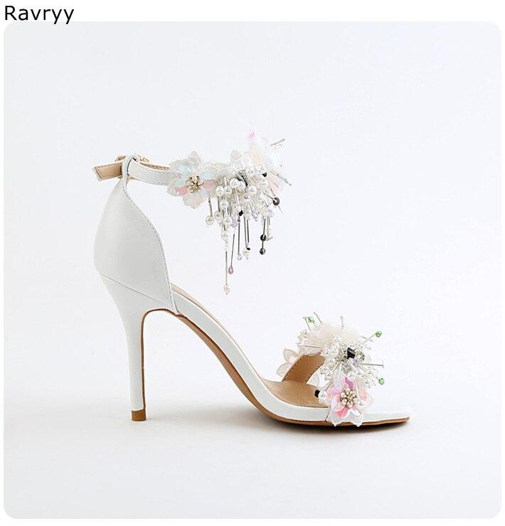 b8cab3a309 US $57.38 12% OFF|Twinkling crystal sandals beautiful flower women's high  heels wedding shoes female dress shoe pointed toe stilettos single shoe-in  ...