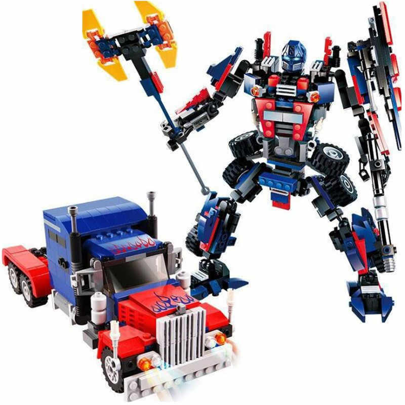 2 In 1 Transformation Series Robot Vehicle Sport car DIY Legoings Building Blocks Action Figures Toys Kids Best Gifts