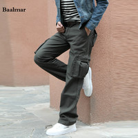 Baalmar 2017 New Men Cargo Pants Army Green Grey Black Big Pockets Decoration Casual Easy Wash