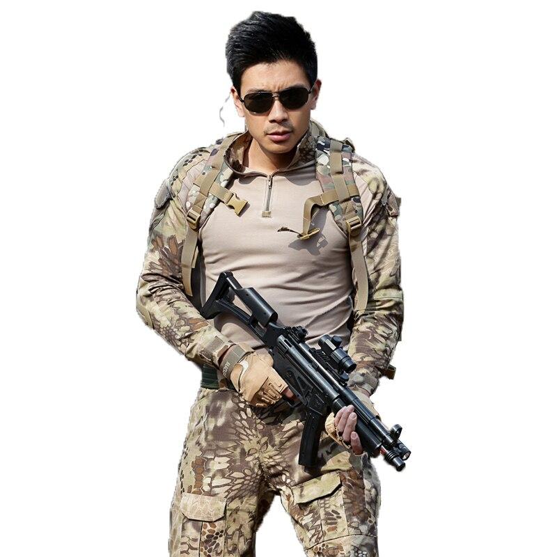 Abiti militari Camouflage Vestiti Tattici Uniforme SWAT Soilders Airsoft Gioco di Guerra T Shirt + Pantaloni Degli Uomini di Combattimento CS Set Rana si adatta alle-in Completi da uomo da Abbigliamento da uomo su  Gruppo 1