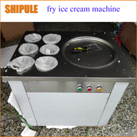 frying ice machine ice pan machine with 6 barrels free shipping to US