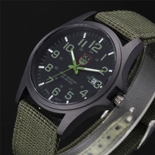 XINEW Nylon Strap Watches Men Casual Auto Date Quartz Watch Military Army Green Watch Simple Analog Sport Man Wrist Watch