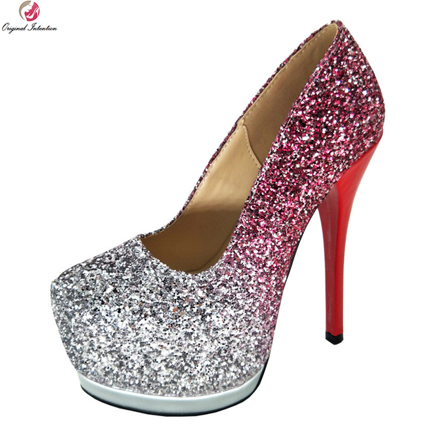 Original Intention Sexy Women Pumps Nice Glitter Round Toe Thin High Heels  Pumps Silver  Pink Shoes Woman Plus US Size 4-10.5 0db9919c22