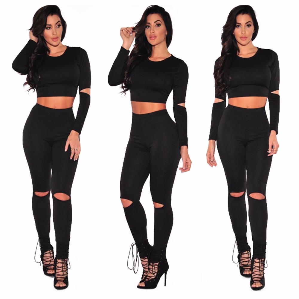 Sexy Two pieces Rompers Women Jumpsuit 2017 New Women Bodycon Jumpsuit O Neck Long Sleeve Fashion Club Bodysuit Bandage Jumpsuit 11