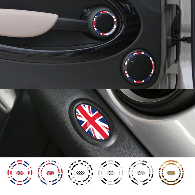 Interior Door Panel Audio Loudspeaker Ring Decoration Stickers Decal