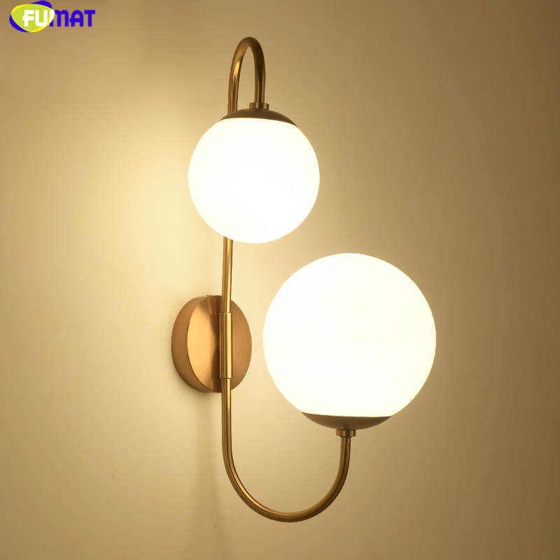 FUMAT Modern Nordic Wall Lamps White Glass Shades Gold Metal Wall Lamps Sconce Living Room Bedside Bedroom Wall Lights