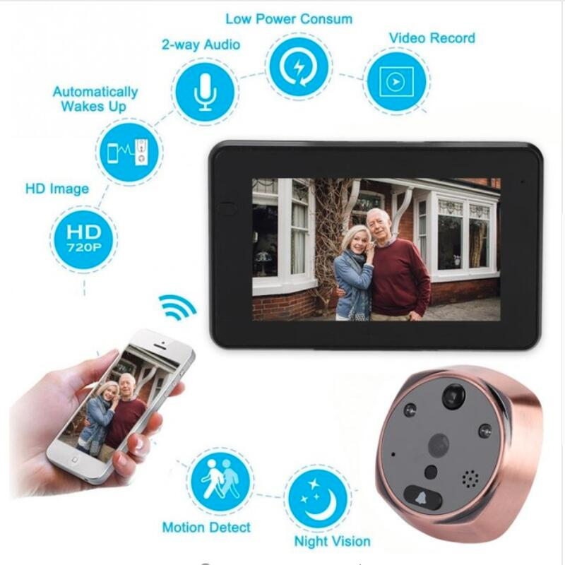 4.3 Inch Monitor Wifi Smart Peephole Video Doorbell HD720P Camera NightVision PIR Motion Detection APP Control For IOS Andriod4.3 Inch Monitor Wifi Smart Peephole Video Doorbell HD720P Camera NightVision PIR Motion Detection APP Control For IOS Andriod