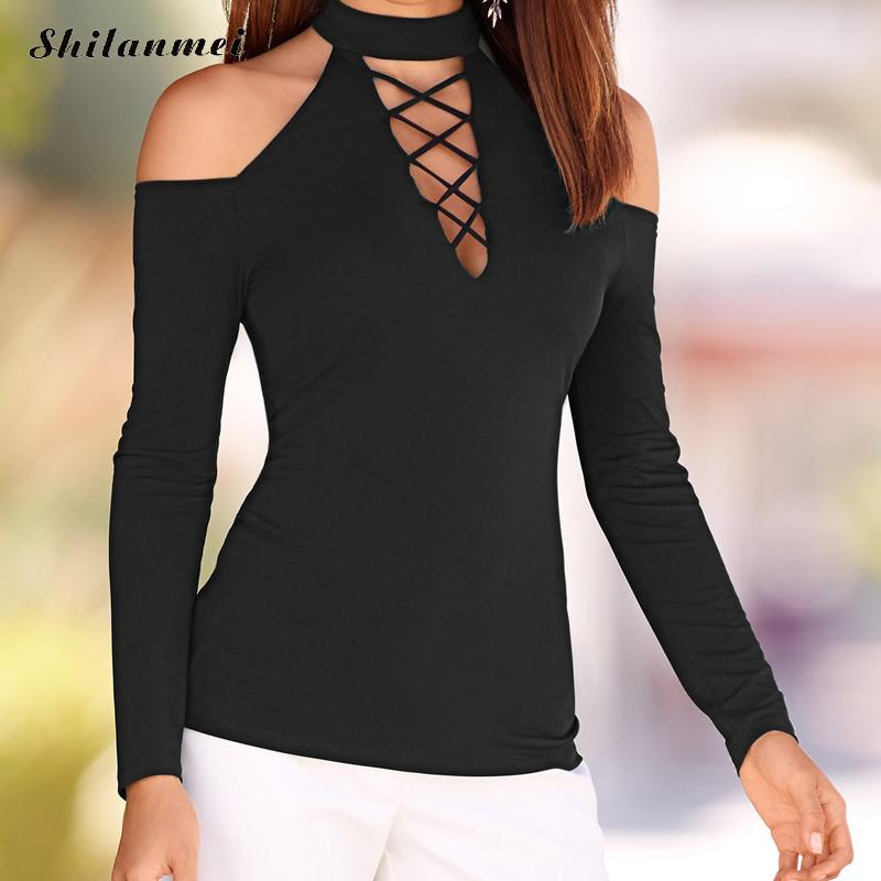 2018 Summer Style Women Casual Halter Choker Top Long Sleeve Slim T Shirts Hollow Out Lace Up Off Shoulder Tops Tees Black