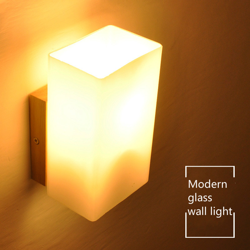 Wooden Wall Lamp Modern Nordic Style E26 E27 Bulb wall Lights Frosted Glass Shade+Wood Bedside Night light For Home IY121760
