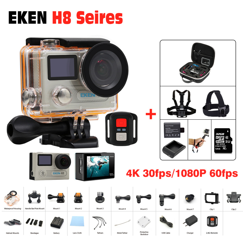 Action Camera Ultra HD 4 K 30FPS WiFi Sport Cameres Original EKEN H8/H8R 2.0 170D Dual Len Underwater Waterproof Helmet Cam action camera ultra hd 4 k 30fps wifi sport cameres original eken h8 h8r 2 0 170d dual len underwater waterproof helmet cam