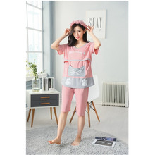 2019 Summmer Maternity Nursing Pajamas Short Sleeve Clothing For Pregnant Women Pregnancy Sleepwear Clothes D0008