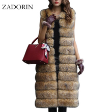 Hot Faux Fur Sleeveless Jacket 2017 Winter Thicken Women Long Faux Fur Vest Luxury Fake Fur Coats Fourrure Gilet abrigos de piel(China)