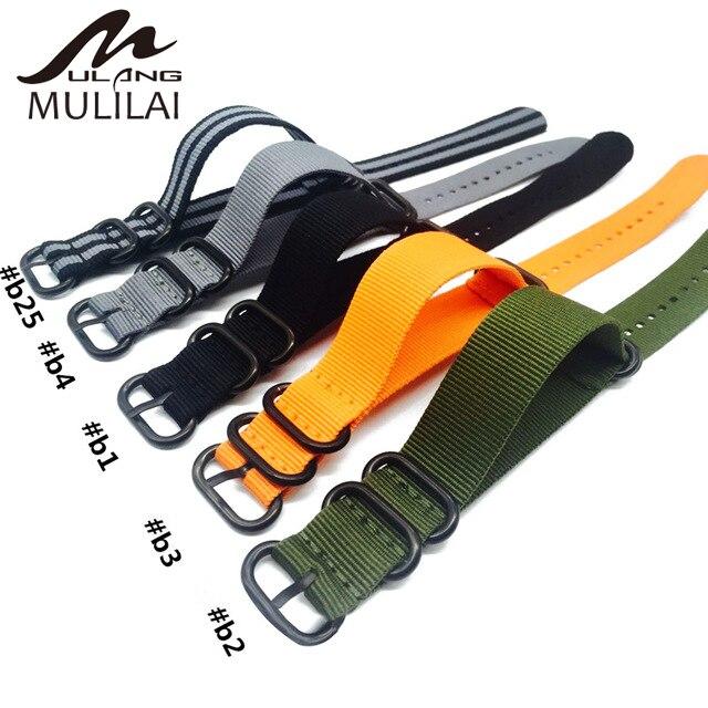 Nato Solid Black Buckle Stripe Orange ZULU 20mm 22mm 24mm Watchbands Men Women Watches Strap Wristwatch Band Buckle Belts