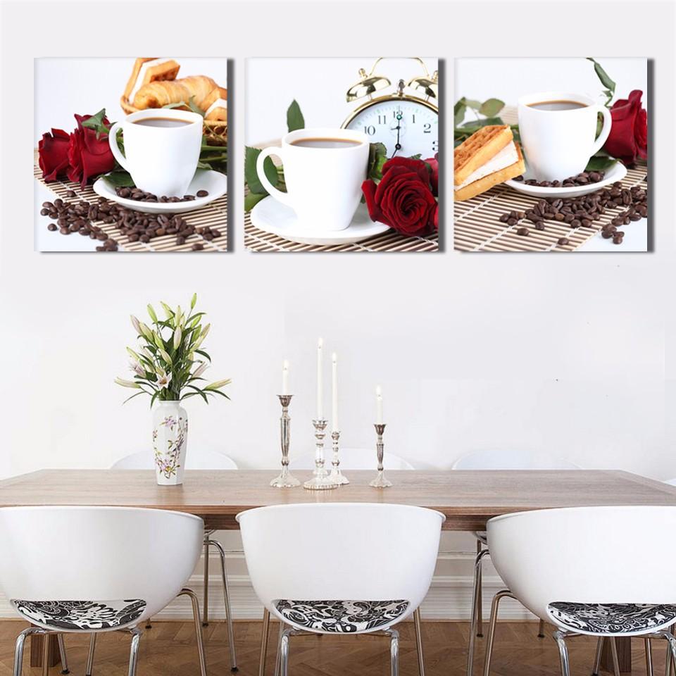 panel de cocina caf pintura al leo en lona grandes cuadros arte de la pared