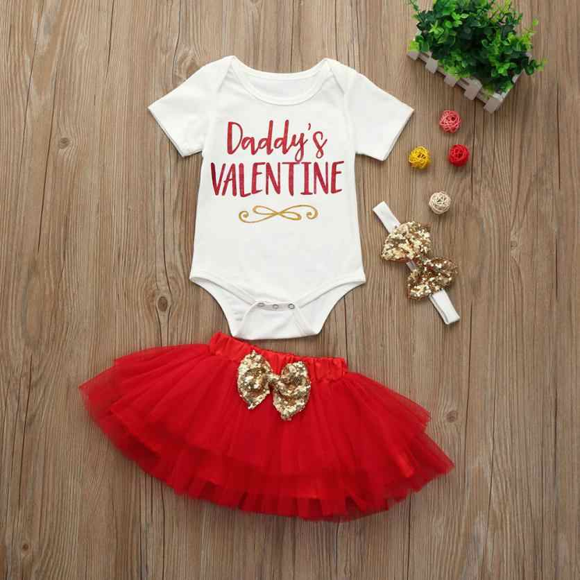 2020 Valentine's Day Gift Newborn Infant Baby Girl Letter Romper Tops+Skirt Valentine's Day Outfits Set Kids Children Clothing